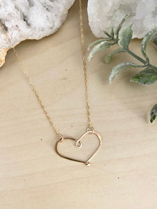Open Hearts Necklace - Hammered textured Heart Necklaces - Sterling silver or Gold Filled