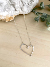 Load image into Gallery viewer, Open Hearts Necklace - Hammered textured Heart Necklaces - Sterling silver or Gold Filled