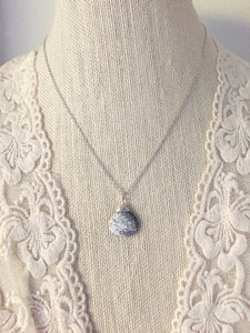 Dendritic Opal Gemstone Drop Necklace - Black and White Pendant necklace