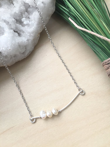 Sway - Sterling Silver Hammered Bar with Freshwater Pearls