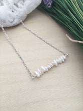 Load image into Gallery viewer, Tiny Stick Pearl Bar Necklace - White Raw Pearl Bar