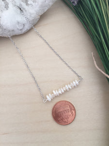 Tiny Stick Pearl Bar Necklace - White Raw Pearl Bar