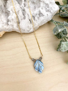 Blue Boulder Opal and Labradorite Necklace