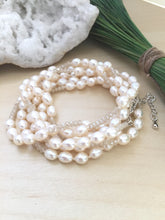 Load image into Gallery viewer, versitile adjustable cream freshwater pearl and crystal necklace