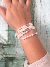 Load image into Gallery viewer, Freshwater pearl strand or wrap bracelet made with cream rice shape pearls and faceted crystals