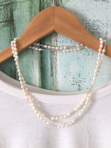 Adjustable double strand delicate cream freshwater pearl necklace
