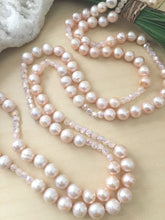 Load image into Gallery viewer, Pink Freshwater Pearl Crystal Long Necklace - Hand knotted on silk