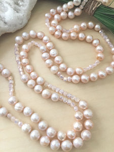 Pink Freshwater Pearl Crystal Long Necklace - Hand knotted on silk