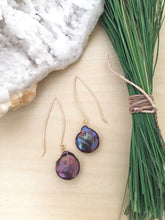 Load image into Gallery viewer, 14k Gold Fill and dark purple peacock freshwater pearl earrings