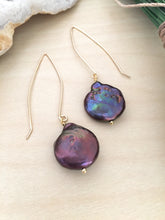 Load image into Gallery viewer, Large Purple Freshwater coin pearls on a long dangling golf fill ear wire