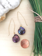 Load image into Gallery viewer, Purple freshwater pearl earrings with gold fill ear wires