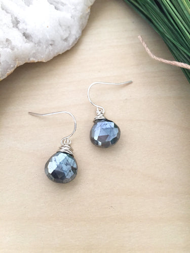 Metallic Black Labradorite gemstone drop earrings wire wrapped in sterling silver wire and suspended from sterling silver ear wires