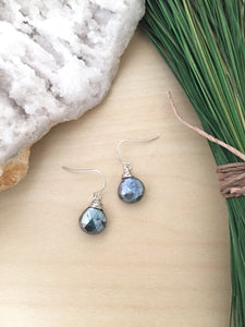 Metallic black gemstone drop earrings with sterling silver ear wires set on a table
