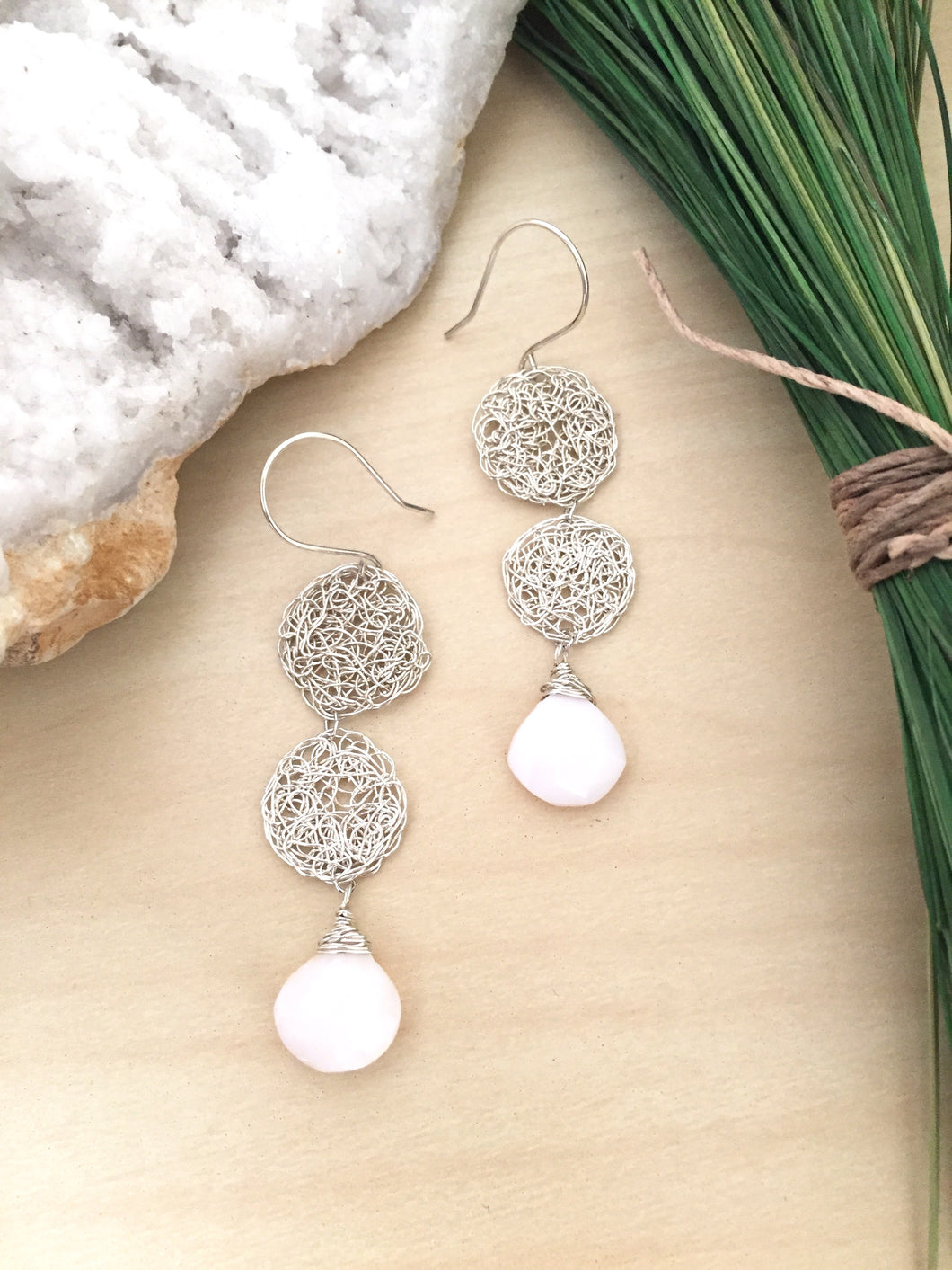 Silver Wire Crochet Duo Earrings with Opal Drops
