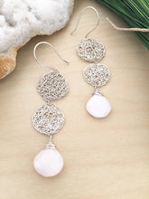 Load image into Gallery viewer, Silver Wire Crochet Duo Earrings with Opal Drops