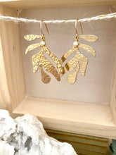Load image into Gallery viewer, Leaf Earrings with tiny Pearl drop - Gold fill Ear Wires