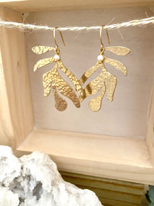 Leaf Earrings with tiny Pearl drop - Gold fill Ear Wires