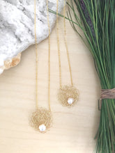 Load image into Gallery viewer, Wire Crochet Sarah Necklace -Delicate Lacy Woven Wire Pendant with Freshwater Pearls