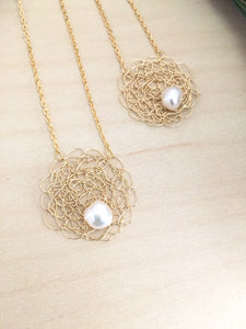 Wire Crochet Sarah Necklace -Delicate Lacy Woven Wire Pendant with Freshwater Pearls