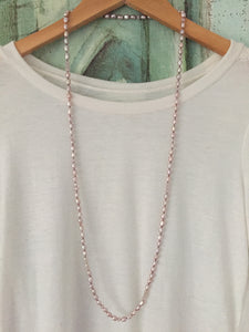 Hand Knotted Pink Freshwater Pearl Necklace with crystal accents