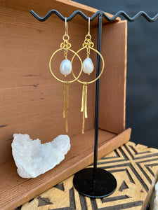 Brass and Freshwater Pearl Statement Earrings - Gold Filled Ear Wires