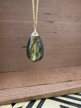 Load image into Gallery viewer, Large Labradorite Necklace wire wrapped in Gold Filled Wire