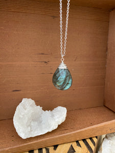 Labradorite gemstone drop necklace on a 28 inch long rhodium plated chain