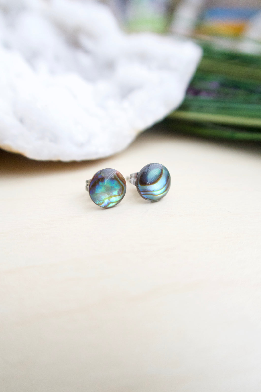 Natural abalone shell round stud earrings on hypoallergenic surgical steel posts