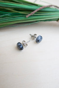 Snowflake Obsidian Earrings on Surgical Steel posts