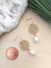 Load image into Gallery viewer, Handmade wire crochet earrings in gold with freshwater pearl drop and hypoallergenice 14k gold fill ear wires