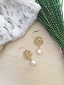 Wire Crochet Rhea Earrings with Freshwater Pearl Drop - Gold Wire Crochet earrings on 14k Gold Fill ear wires