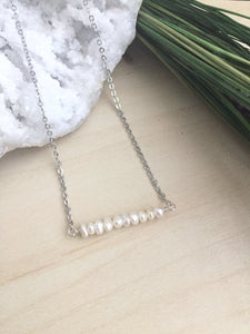 White Pearl Bar Necklace