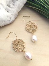 Load image into Gallery viewer, Gold Wire Crochet round earrings with a white freshwater pearl drop and suspended on handmade 14k gold fill ear wires