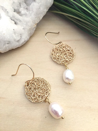 Gold Wire Crochet round earrings with a white freshwater pearl drop and suspended on handmade 14k gold fill ear wires