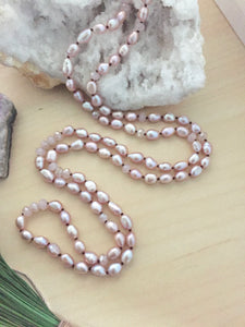 Long layering freshwater pearl necklace