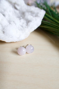 Rose quartz gemstone studs on hypoallergenic surgical steel posts suitable for sensitive skin