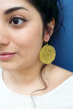 Load image into Gallery viewer, Wire Crochet Brass Tanya Earrings - Large Gold Disc Earrings