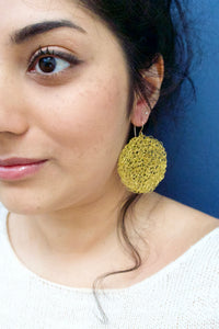 Wire Crochet Brass Tanya Earrings - Large Gold Disc Earrings