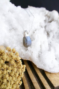 Labradorite Gemstone layering necklace on a 16 inch chain