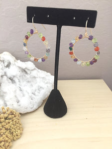 Colorful gemstone beads wire wrapped on gold fill hoops