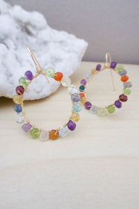 mixed gemstone hoop earrings made with gold fill wires