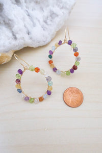 mixed gemstone earrings on hypollergenic 14k gold fill ear wires