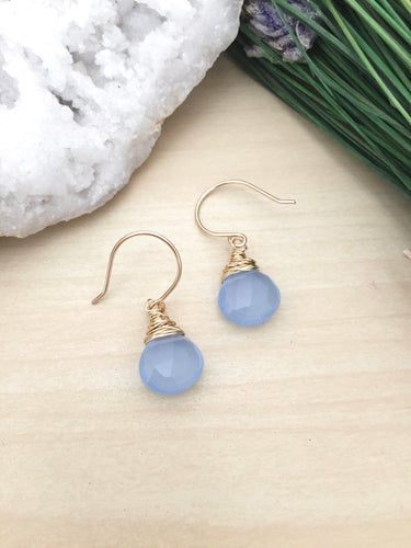 Blue Chalcedony earrings wire wrapped on hypoallergenic 14k gold fill ear wires