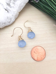 Dainty baby blue earrings on handmade gold fill ear wires