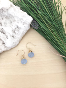 Minimal light blue earrings on 14k gold fill ear wires