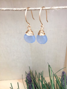 Handmade gold fill wire wrapped light blue gemstone earrings