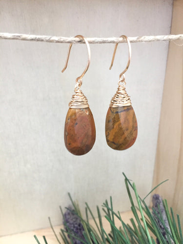 Mookaite Jasper Gemstone Drop Earrings - 14k Gold Fill