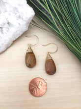 Load image into Gallery viewer, Mookaite Jasper Gemstone Drop Earrings - 14k Gold Fill