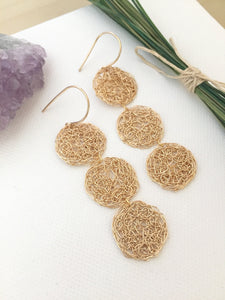 Gold Fill lacy long earrings with geometric pattern