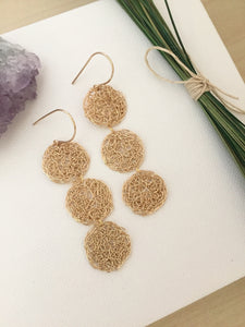 Wire crochet verticle disc earrings